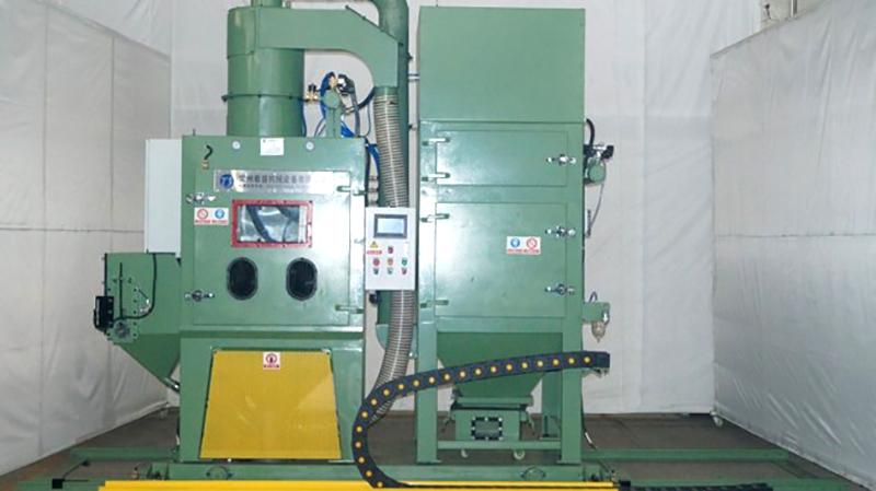 天津客户采购石油管端螺纹喷砂机已投入使用