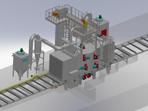大型钢结构辊道通过式抛丸清理机